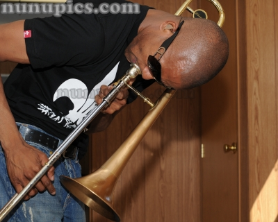 Trombone Shorty backstage Jazz Fest New Orleans  2010