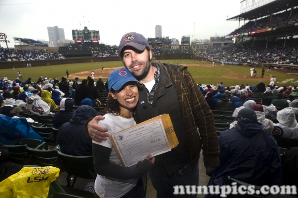 Chicago Cubs Opening Day wedding April 1 2011 Wrigley Field Certificate in Hand