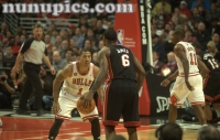 Derrick Rose Takes On Lebron James and the Miami Heat February 24 2011 United Center Chicago Il