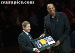 Scott Williams gets introduced at  1991 20th Anniversary Chicago Bulls Reunion March 12 2011