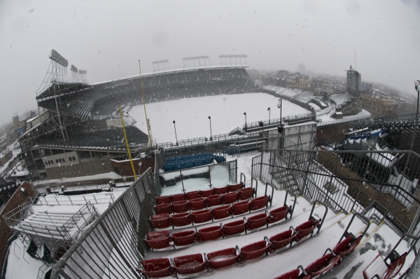 Wrigley Field february 2 2011 taken from across the street Skybox on Sheffield Blizzard 2011