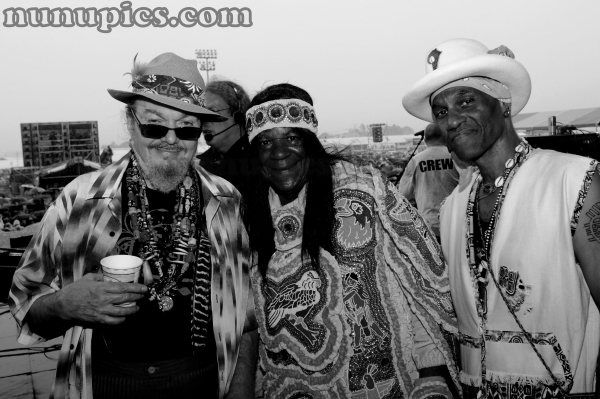 Dr John, Monk Boudreaux and Cyril Neville During The Wetlands Set during Jazz Fest 2008