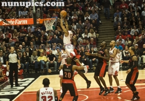Derrick Rose Slams Over The Raptors April 2 2011