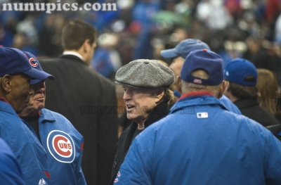 Robert Redford Hangs with Cub Hall Of Famers Ernie Banks and billy williams on Opening day Chicago Cubs April 1 2011