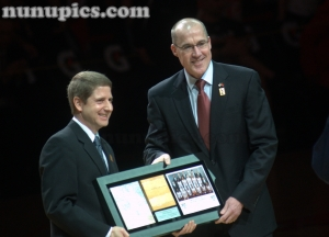John Paxson gets ittoduced at 1991 20th Anniversary Chicago Bulls Reunion March 12 2011