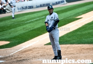 Derek Jeter poses at Wrigley Field against the Chicago Cubs