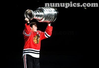 Chicago Blackhawk Jonathon Toews skates with the Stanley Cup after winning the championship in 2010